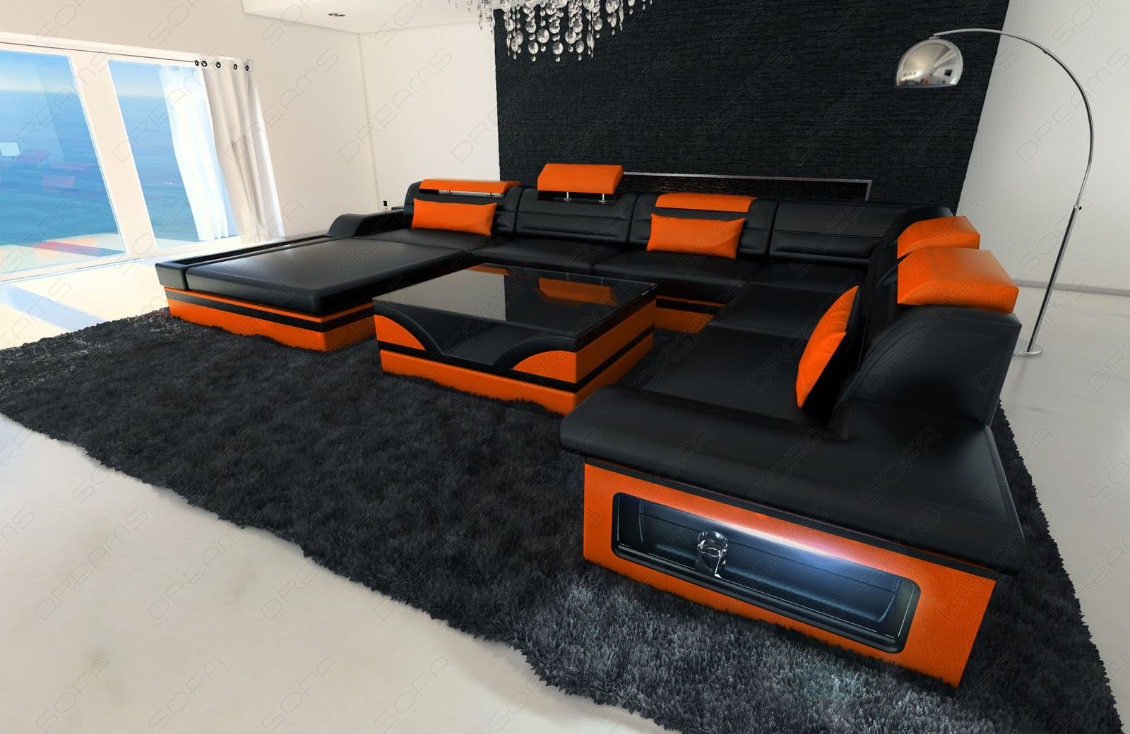 Design sectional sofa mezzo xxl with led lights black for Couch mit led