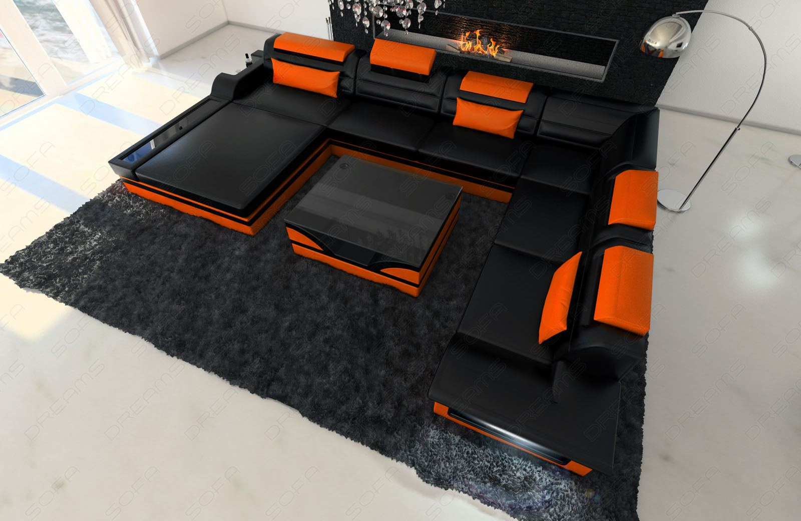 Xxl mezzo home landscape led designer couch set leather sofa ebay for Sofa garnitur