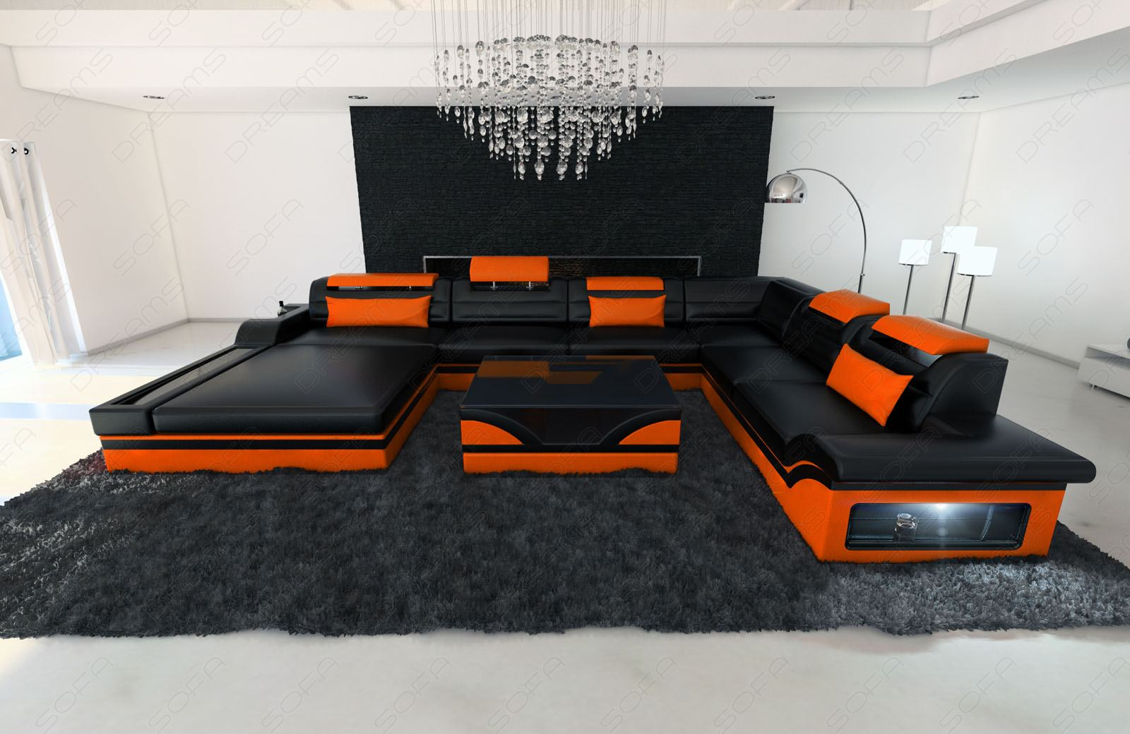 Design sectional sofa mezzo xxl with led lights black for Wohnzimmer couch xxl