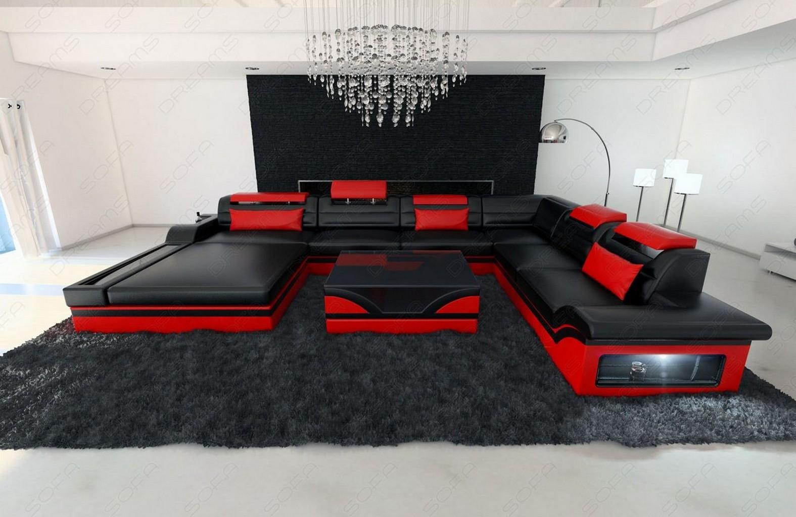 Ledersofa designklassiker  XXL WOHNLANDSCHAFT MEZZO LED DESIGNER COUCH GARNITUR LEDERSOFA +++ ...