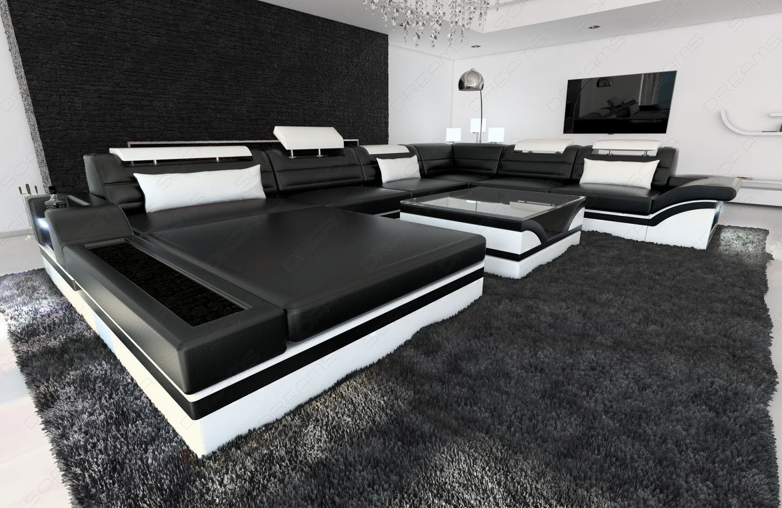 Black and white living room ideas car interior design for Wohnlandschaft schwarz