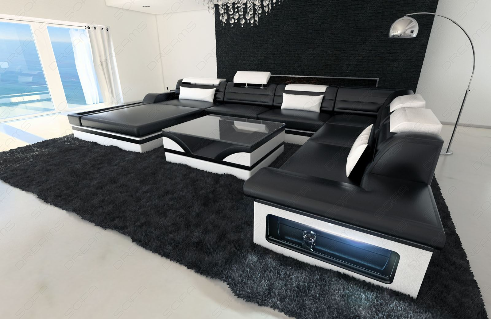 design sectional sofa mezzo xxl with led lights black white ebay. Black Bedroom Furniture Sets. Home Design Ideas