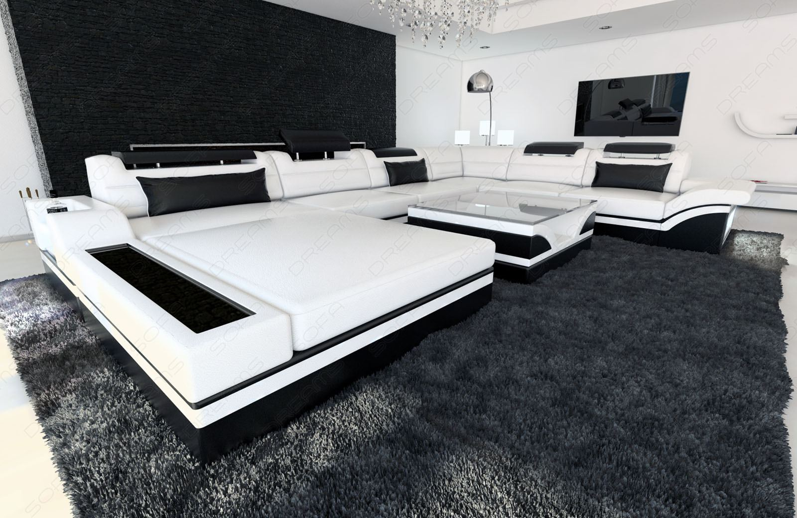 ledersofa mega wohnlandschaft mezzo xxl designer couch luxus ebay. Black Bedroom Furniture Sets. Home Design Ideas
