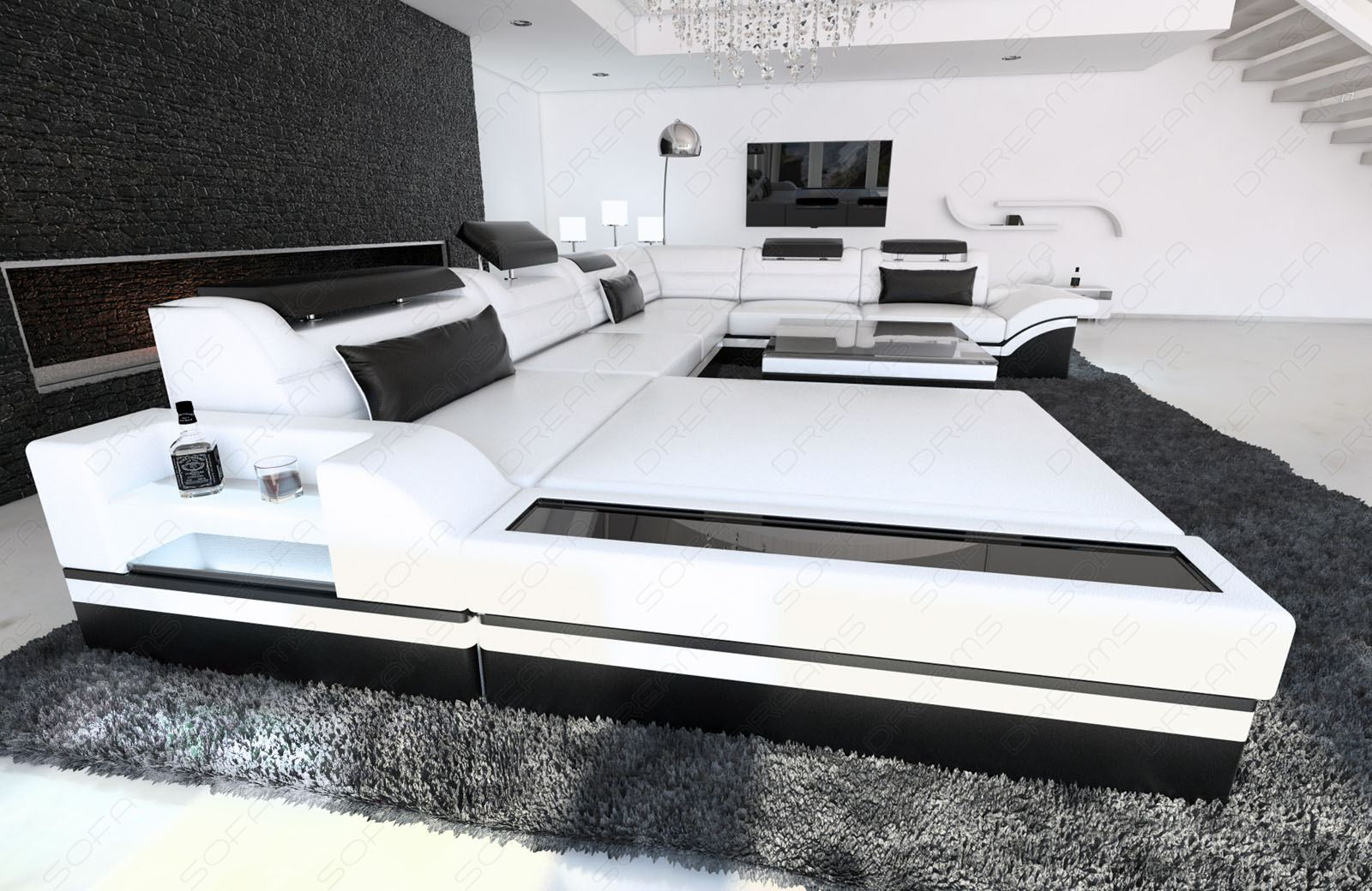 design sectional sofa mezzo xxl with led lights white black. Black Bedroom Furniture Sets. Home Design Ideas