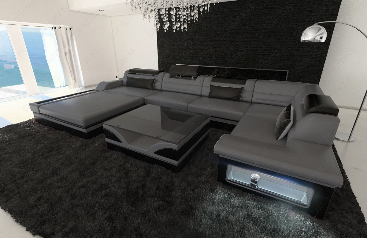 details about design leather sofa mezzo with led lights grey black. Black Bedroom Furniture Sets. Home Design Ideas