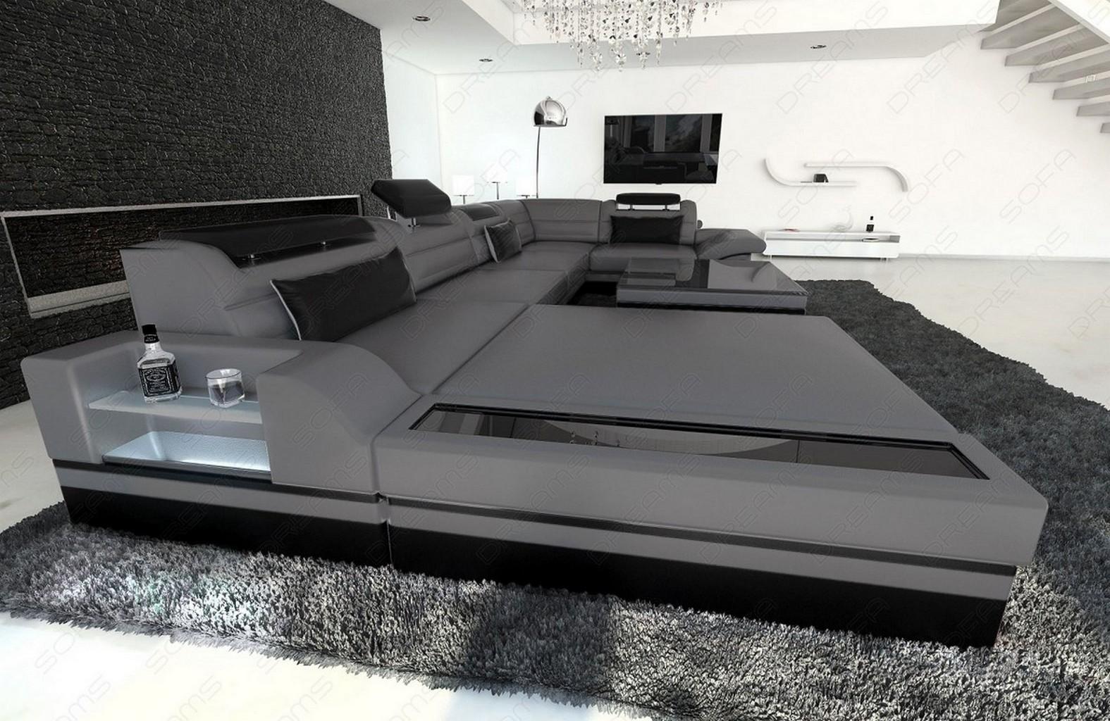 Designercouch Luxus Wohnlandschaft MEZZO mit LED grau schwarz   eBay