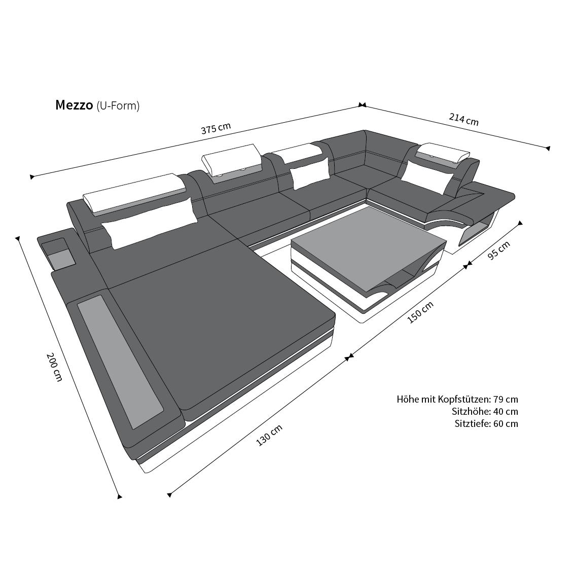 LEDER Wohnlandschaft MEZZO LED Echtleder Luxussofa DESIGN SOFA + + + ...