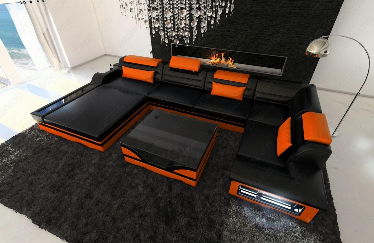 design leather sofa mezzo with led lights black orange. Black Bedroom Furniture Sets. Home Design Ideas