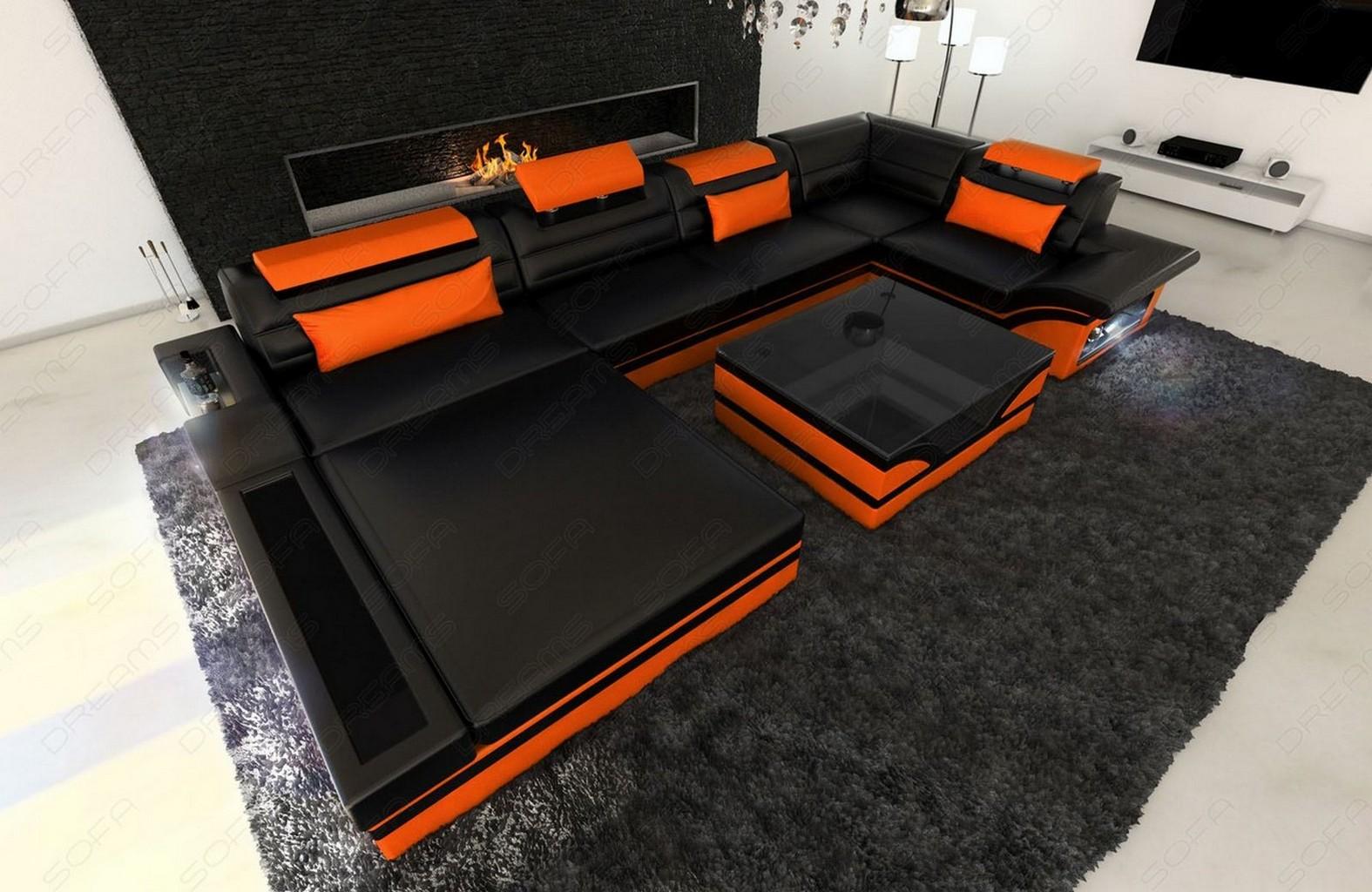 sofa wohnlandschaft mezzo led design luxussofa schwarz orange ebay. Black Bedroom Furniture Sets. Home Design Ideas
