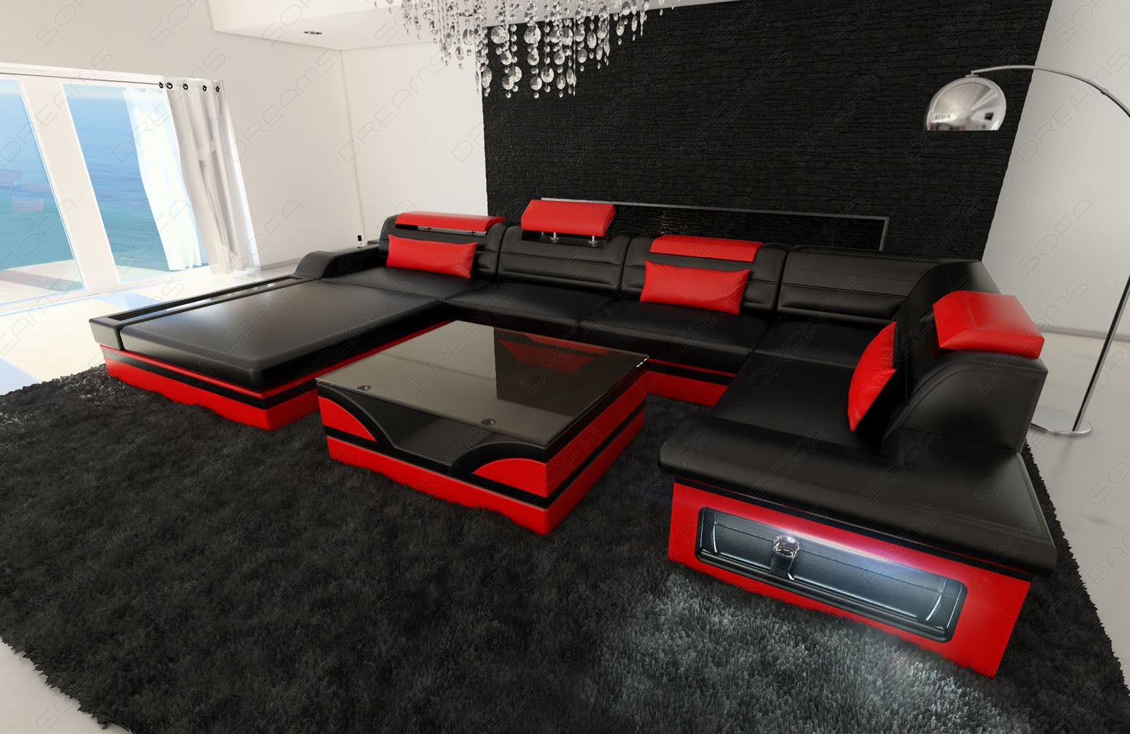 ledersofa exklusive wohnlandschaft mezzo u recamiere designer couch schwarz rot ebay. Black Bedroom Furniture Sets. Home Design Ideas