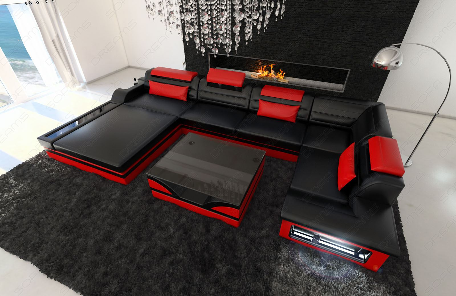 leather sofa luxury interior design mezzo design couch black red ebay. Black Bedroom Furniture Sets. Home Design Ideas