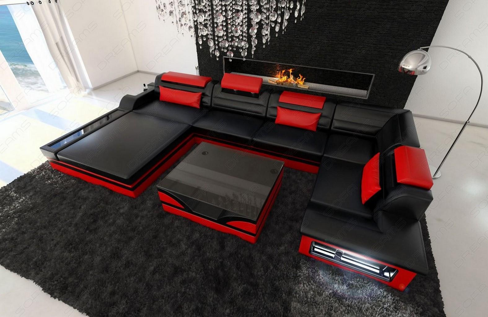 design leather sofa mezzo with led lights black red ebay. Black Bedroom Furniture Sets. Home Design Ideas
