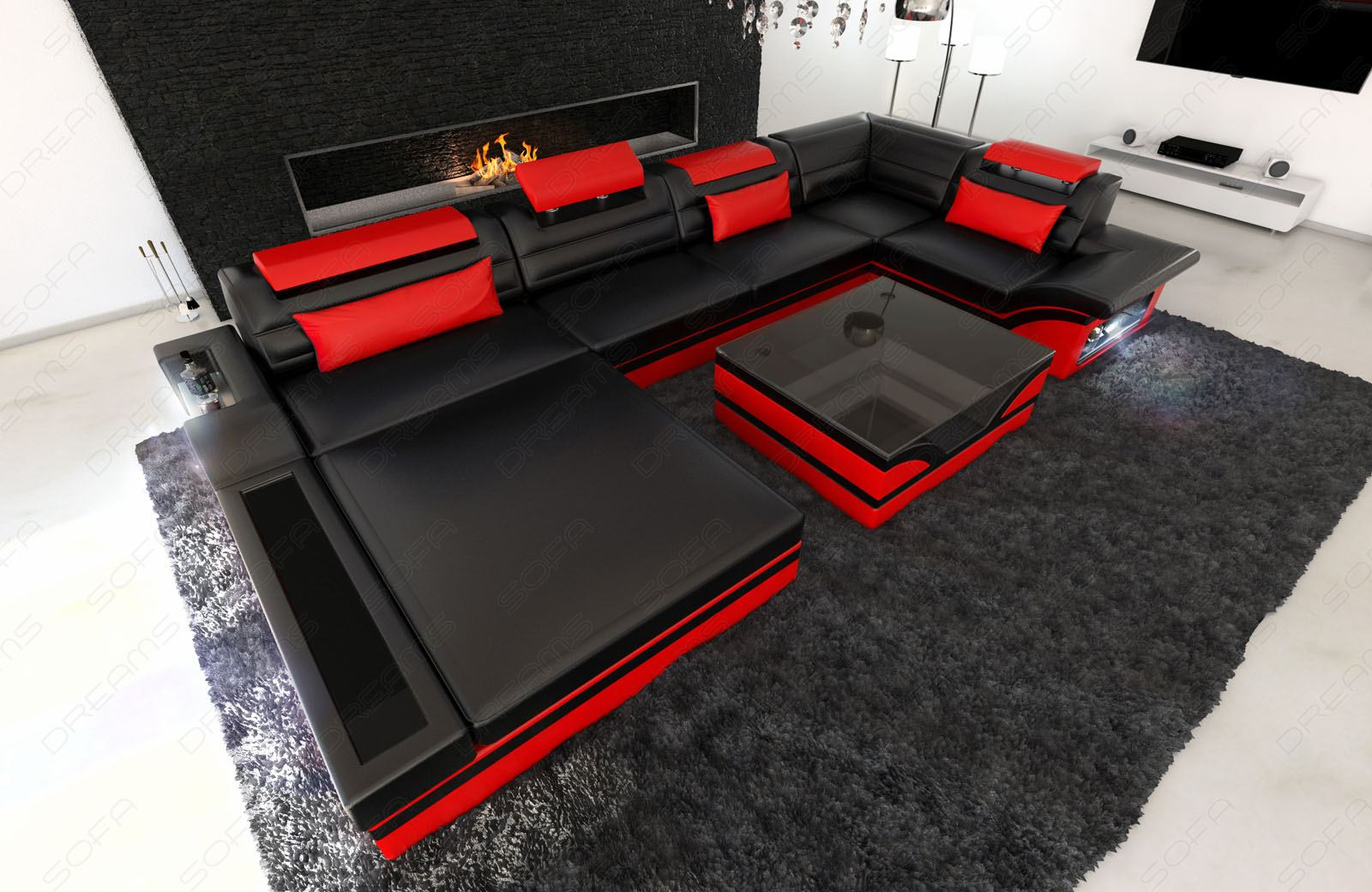 design leather sofa mezzo with led lights black red ebay. Black Bedroom Furniture Sets. Home Design Ideas