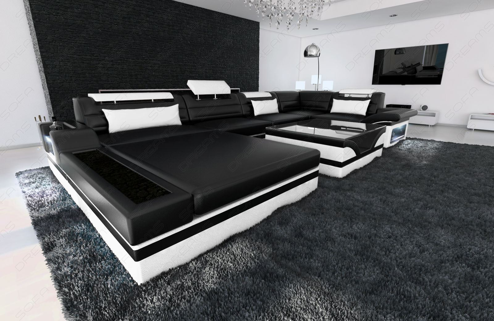 Luxury Sectional Sofa Mezzo U With Led Lights Leather Sofa Colour Selection Ebay