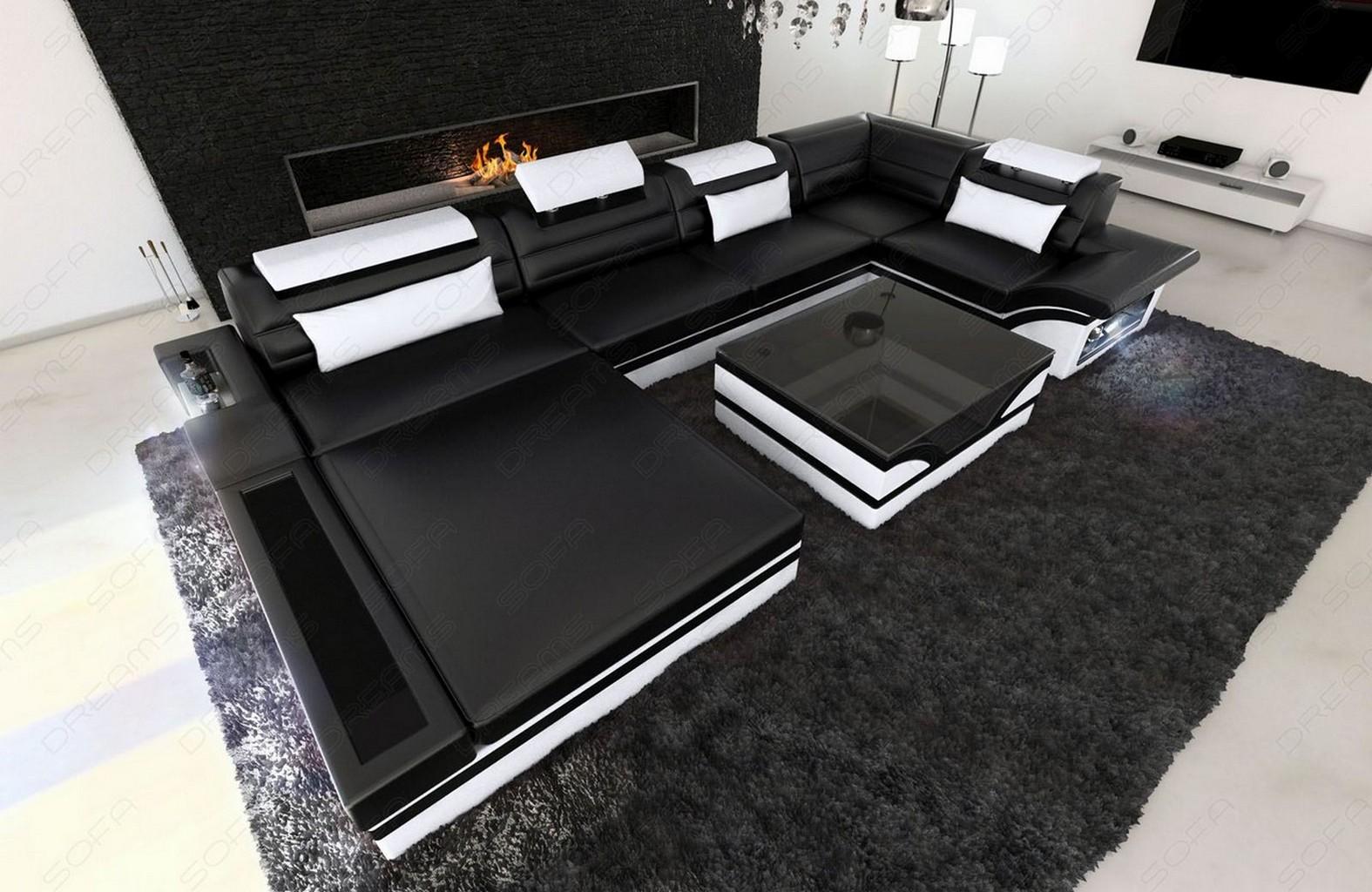 Luxury Sectional Sofa MEZZO U with LED Lights Leather Sofa