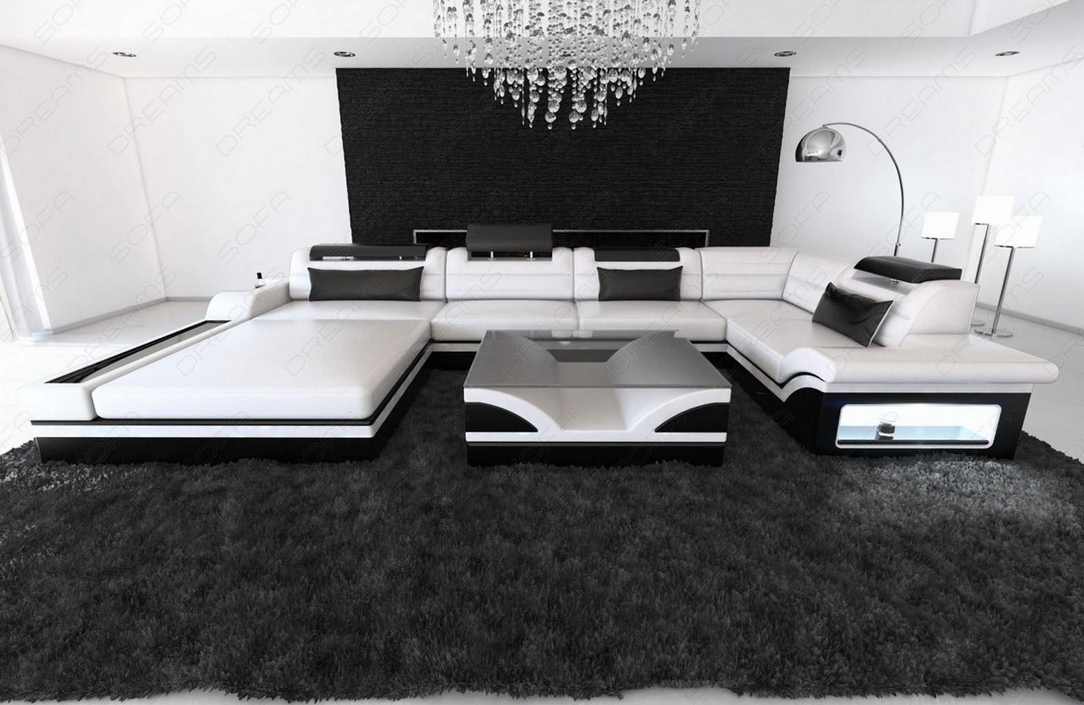 Echtledercouch wohnlandschaft mezzo led luxussofa design for Echtleder sofa u form