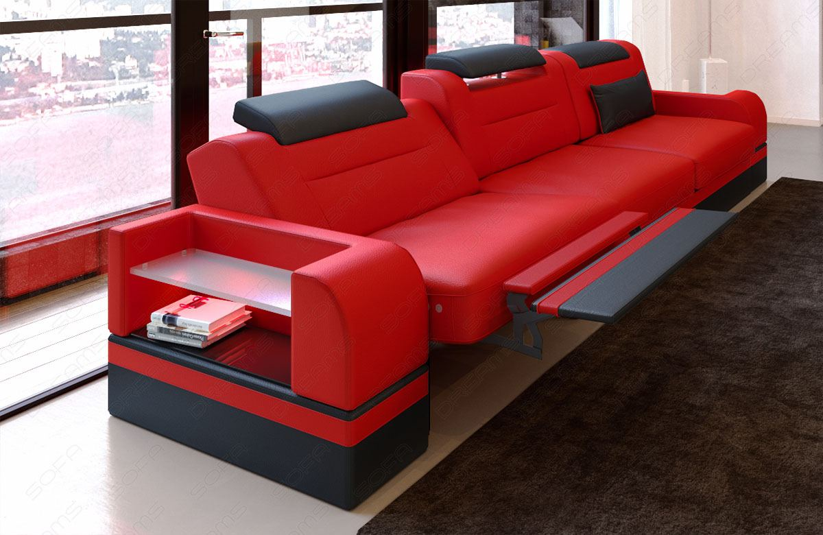 3 seater leather sofa parma with led section sofa couch color selection. Black Bedroom Furniture Sets. Home Design Ideas