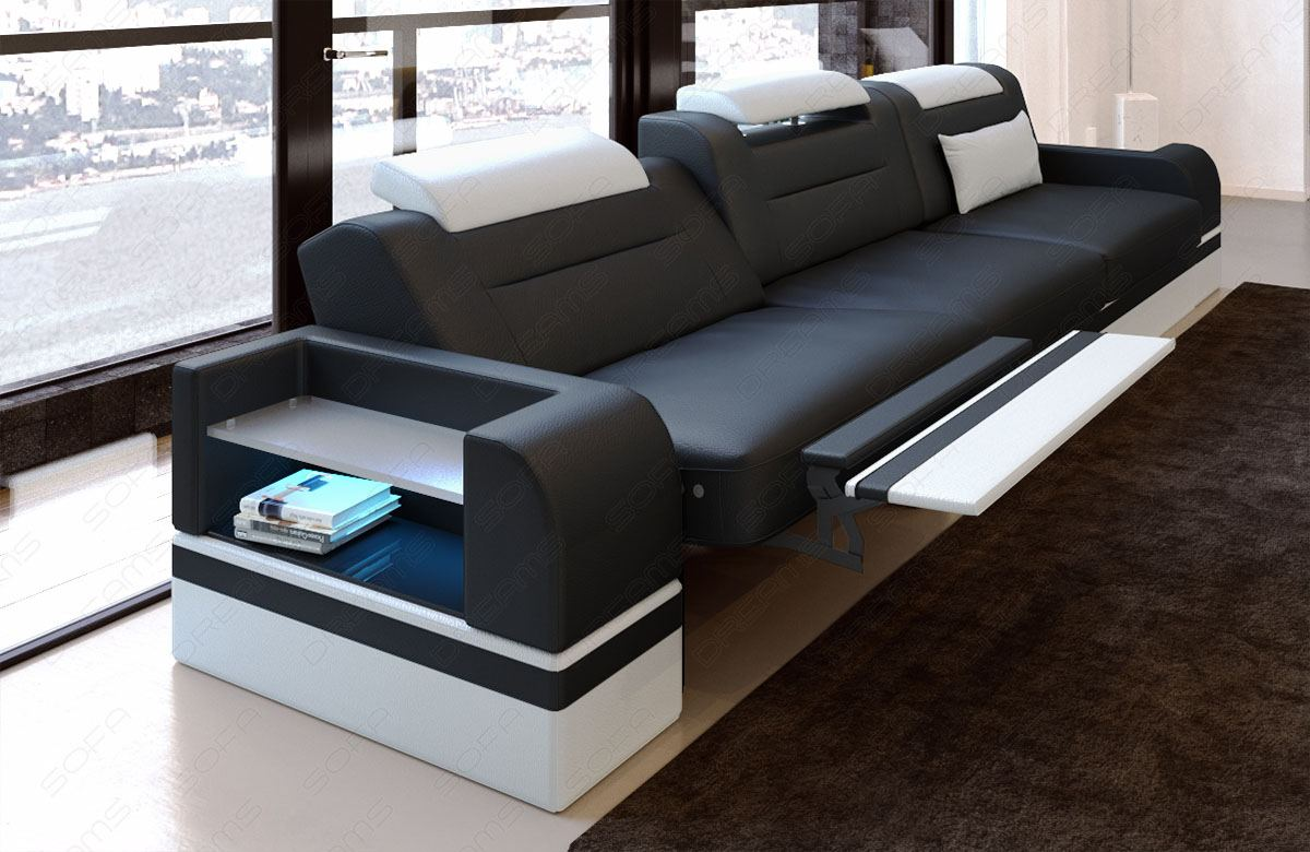 3 seater leather sofa parma with led section sofa couch. Black Bedroom Furniture Sets. Home Design Ideas