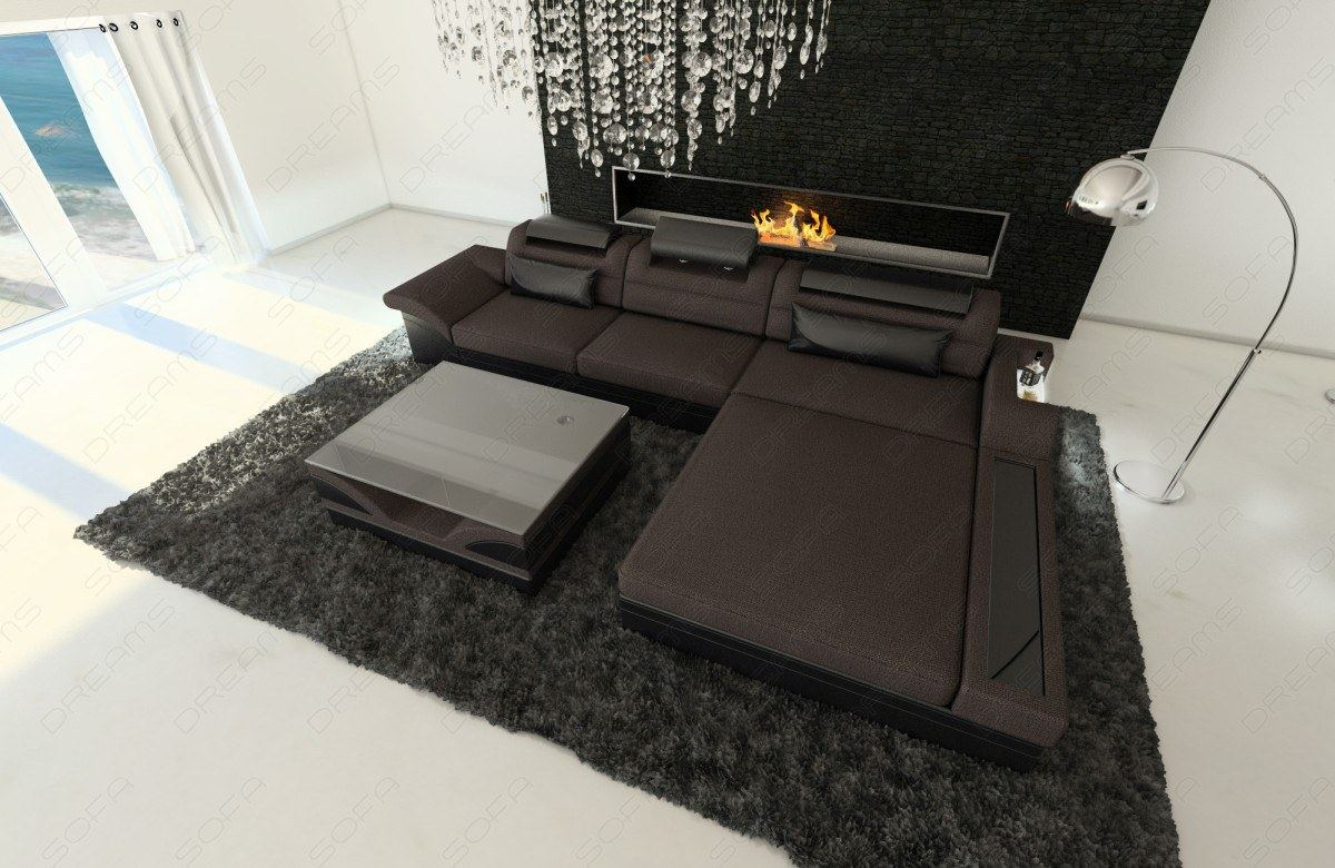 fabric sofa parma l shaped with led lights dark brown ebay. Black Bedroom Furniture Sets. Home Design Ideas