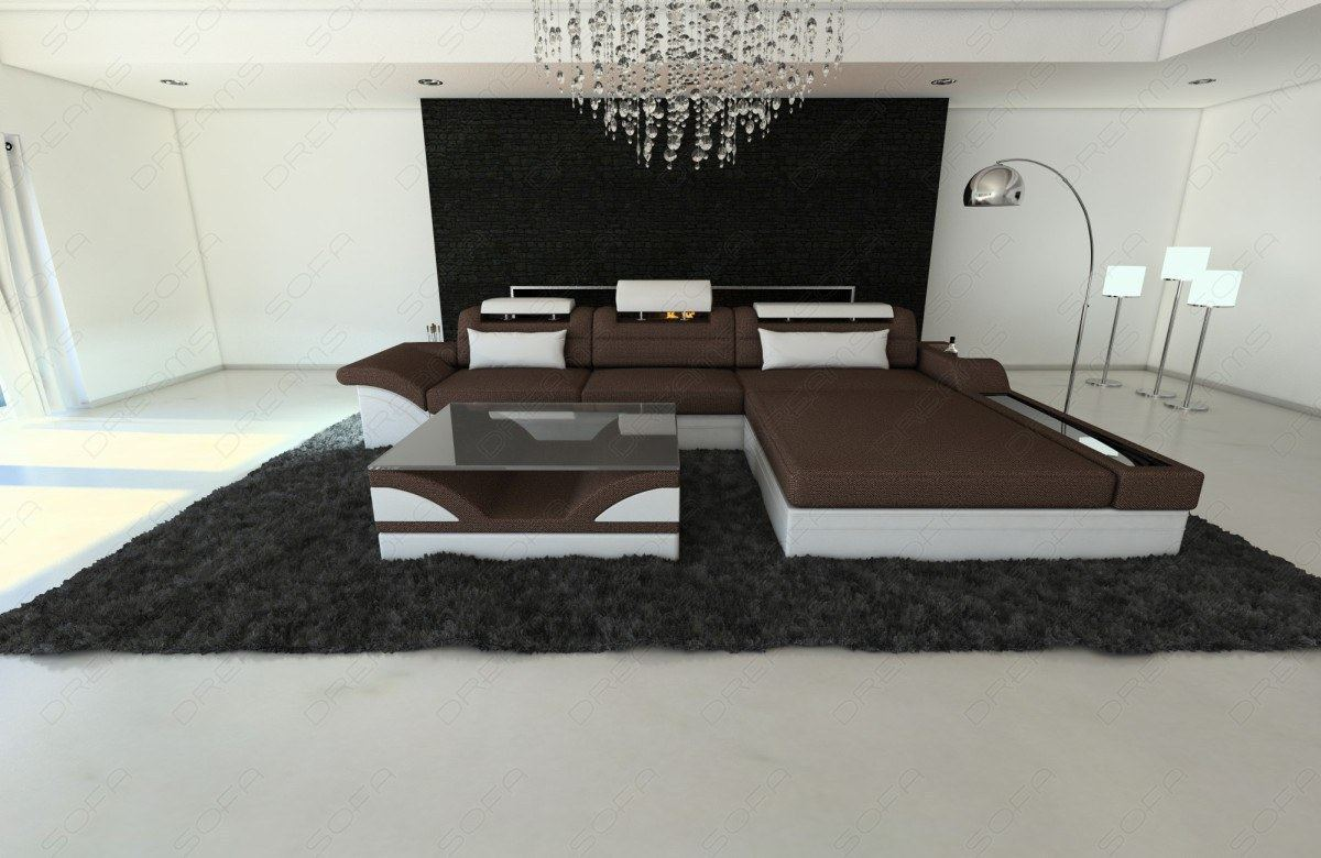 fabric sofa parma l shaped with led lights brown fabric ebay. Black Bedroom Furniture Sets. Home Design Ideas