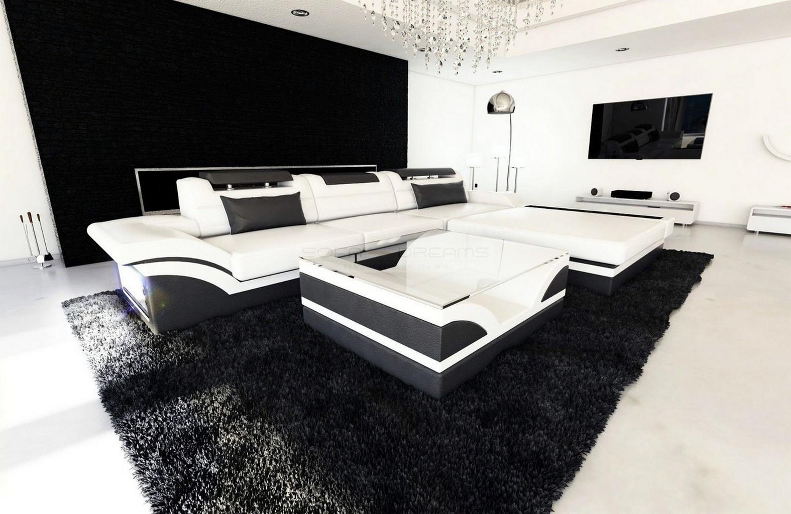 Design Leather Sofa PARMA Corner Sofa with LED Lights - colour ...