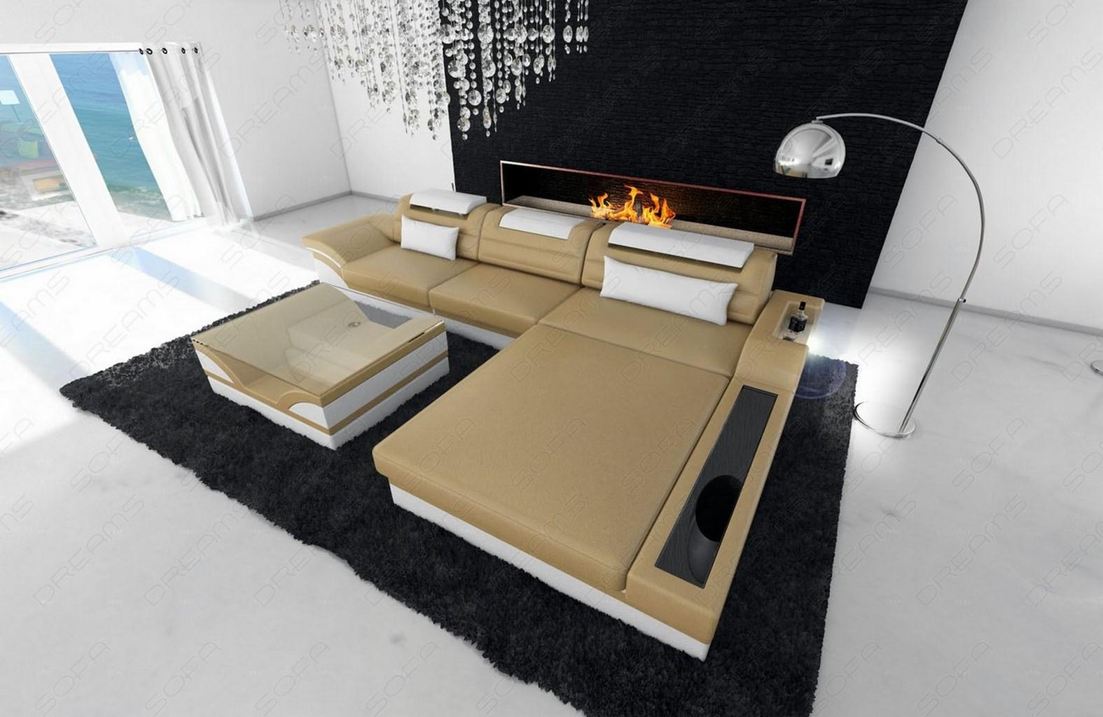 Details about Leather Sectional Sofa Orlando L Shape LED lights Design Sofa  Luxury