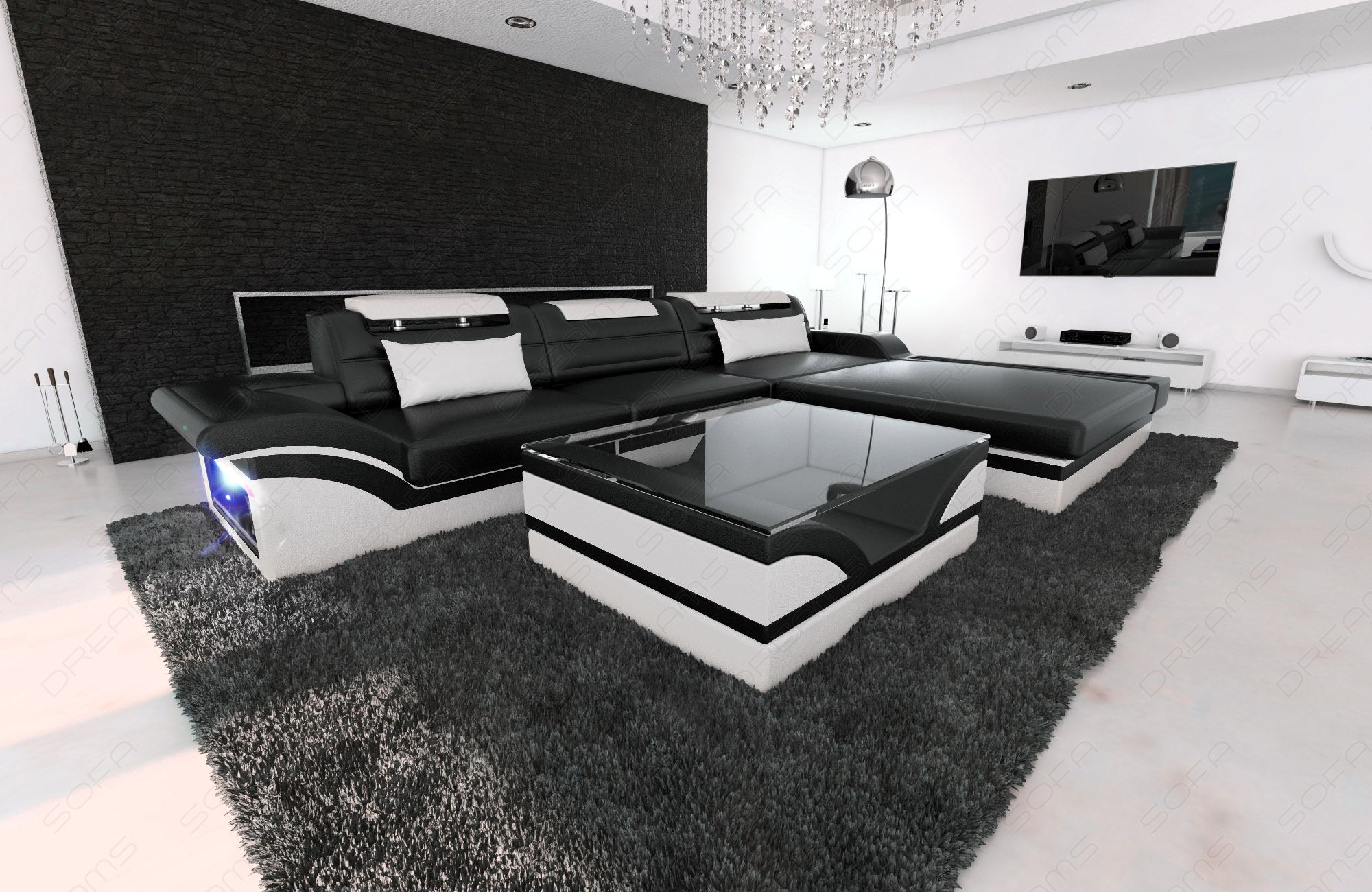 modern corner sofa parma l shaped black white ebay. Black Bedroom Furniture Sets. Home Design Ideas