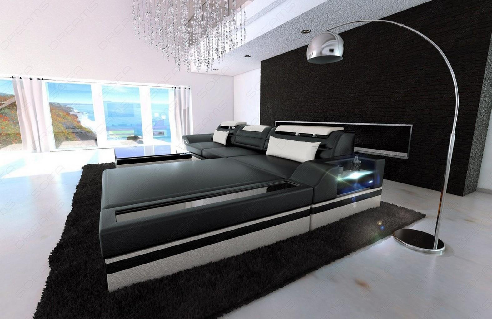 Ledersofa designcouch parma l form couch schwarz weiss for Sofa schwarz