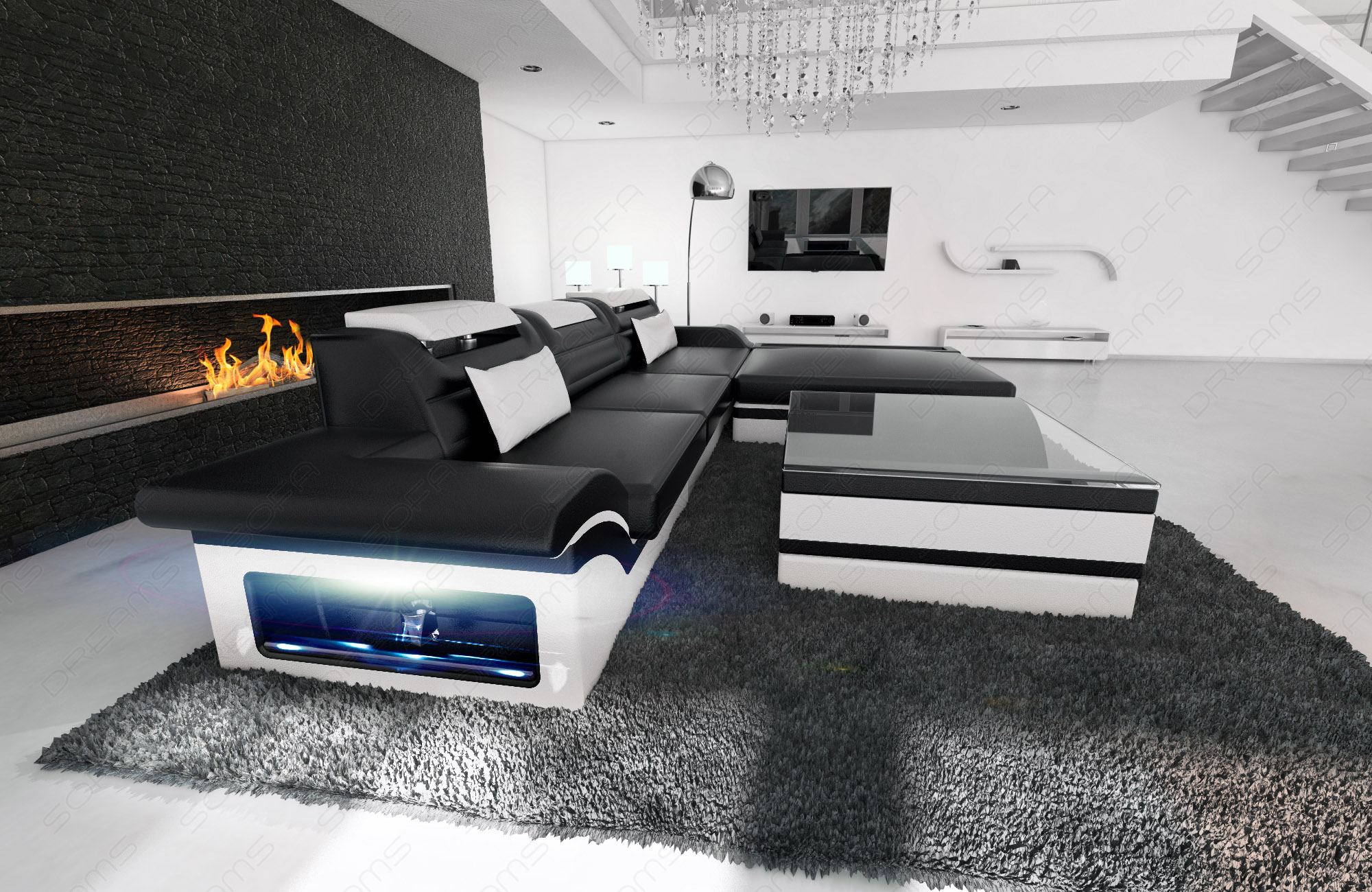 ledersofa designcouch parma l form couch schwarz weiss ottomane led beleuchtung ebay. Black Bedroom Furniture Sets. Home Design Ideas