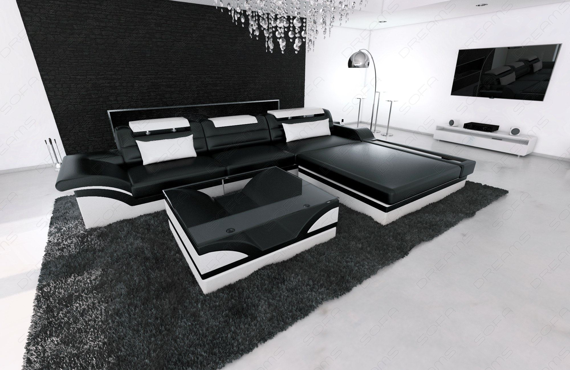modern corner sofa parma l shaped with lights black white. Black Bedroom Furniture Sets. Home Design Ideas