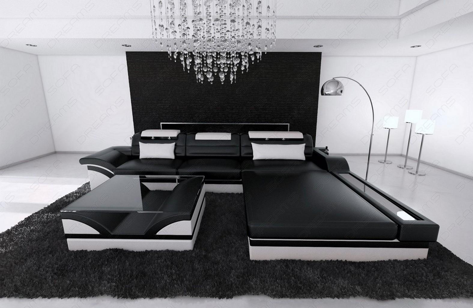 modern corner sofa parma l shaped black white ebay. Black Bedroom Furniture Sets. Home Design Ideas