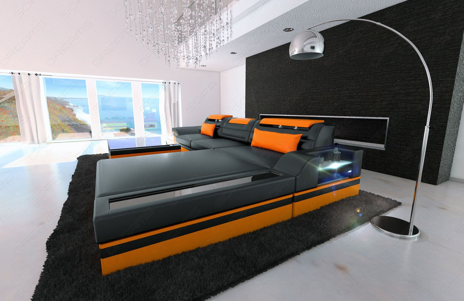 Modern Corner Sofa Parma L Shaped With Lights Black Orange