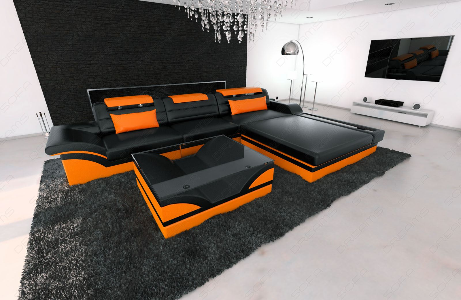 modern corner sofa parma l shaped with lights black orange ebay. Black Bedroom Furniture Sets. Home Design Ideas