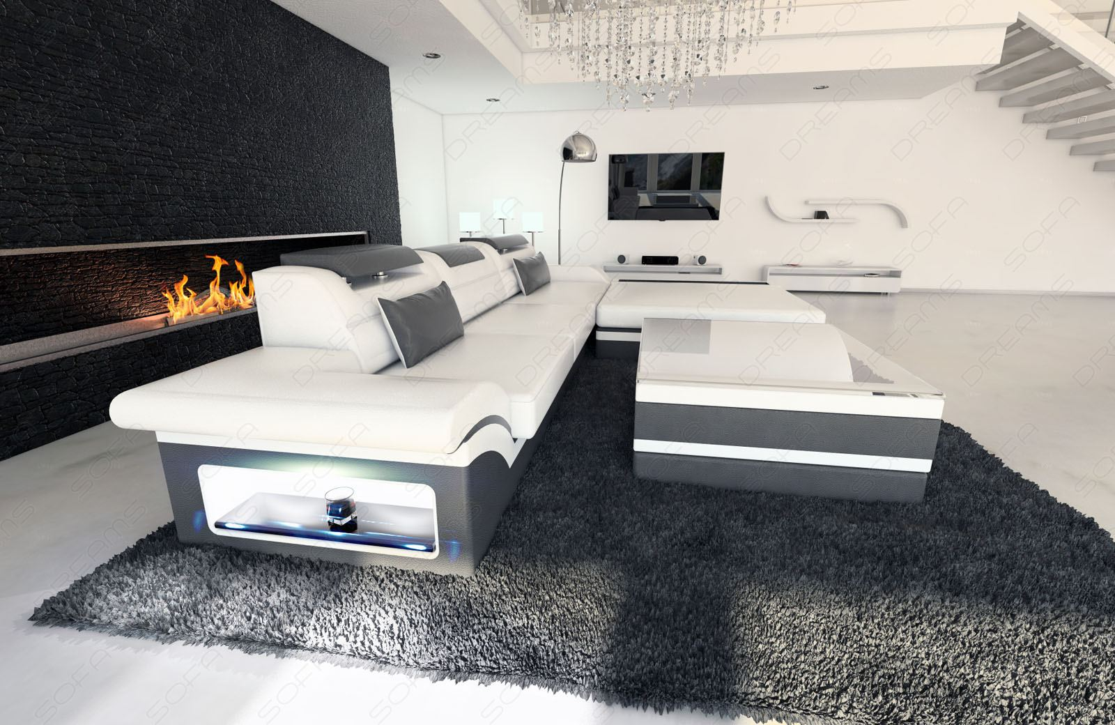 modern corner sofa parma l shaped white grey ebay. Black Bedroom Furniture Sets. Home Design Ideas