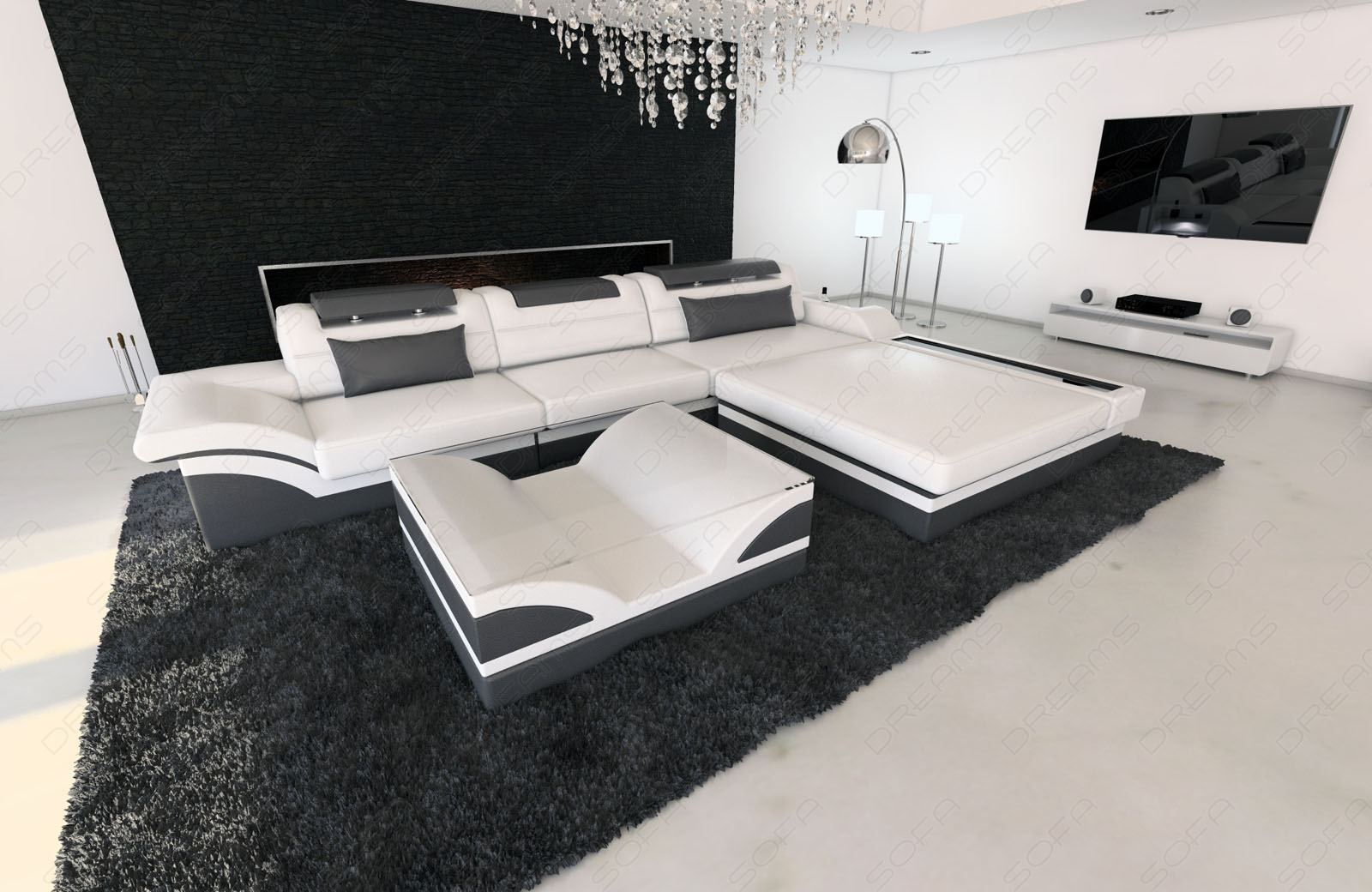 modern corner sofa parma l shaped with lights white grey. Black Bedroom Furniture Sets. Home Design Ideas