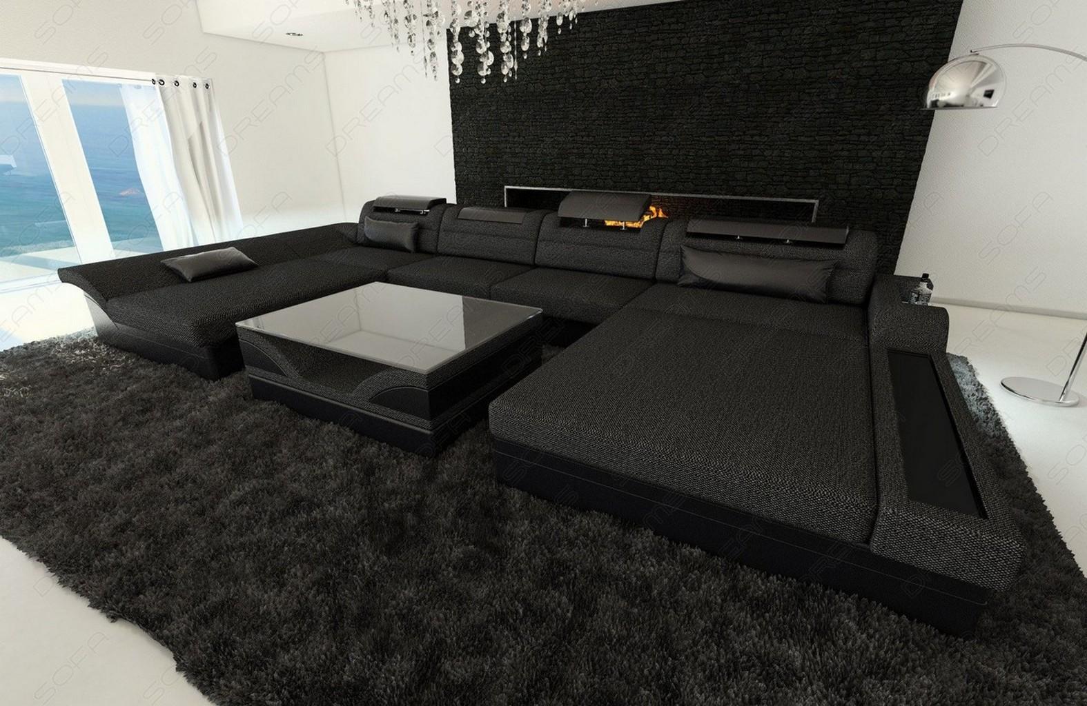 Wohnlandschaft design stoff monza u form grau luxus couch for Couch grau u form
