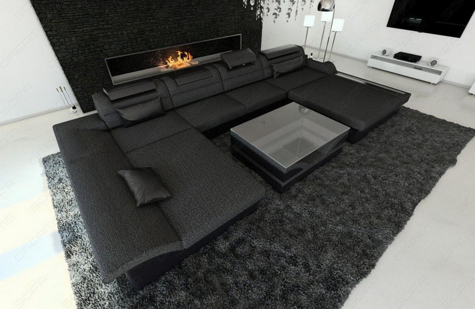 wohnlandschaft design stoff monza u form grau luxus couch sofa led beleuchtung ebay. Black Bedroom Furniture Sets. Home Design Ideas
