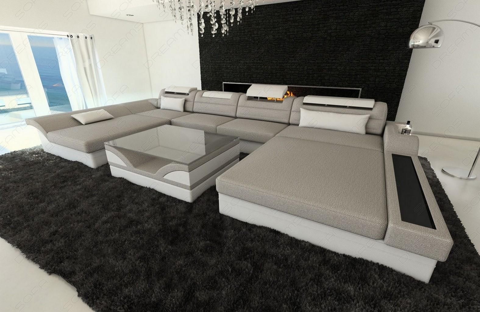 design polstersofa wohnlandschaft stoff monza u form recamiere led beleuchtung ebay. Black Bedroom Furniture Sets. Home Design Ideas