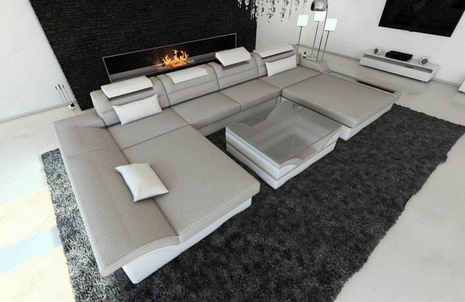 design polstersofa wohnlandschaft stoff monza u form materialmix led beleuchtung ebay. Black Bedroom Furniture Sets. Home Design Ideas