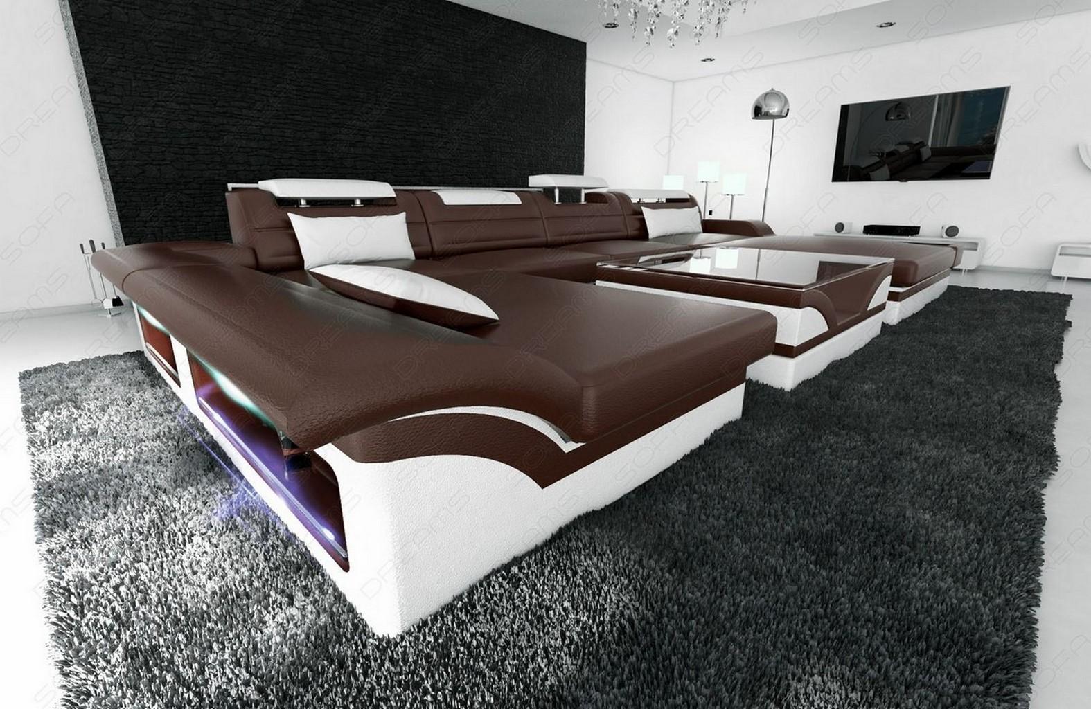 ledercouch wohnlandschaft monza ledersofa mit led. Black Bedroom Furniture Sets. Home Design Ideas