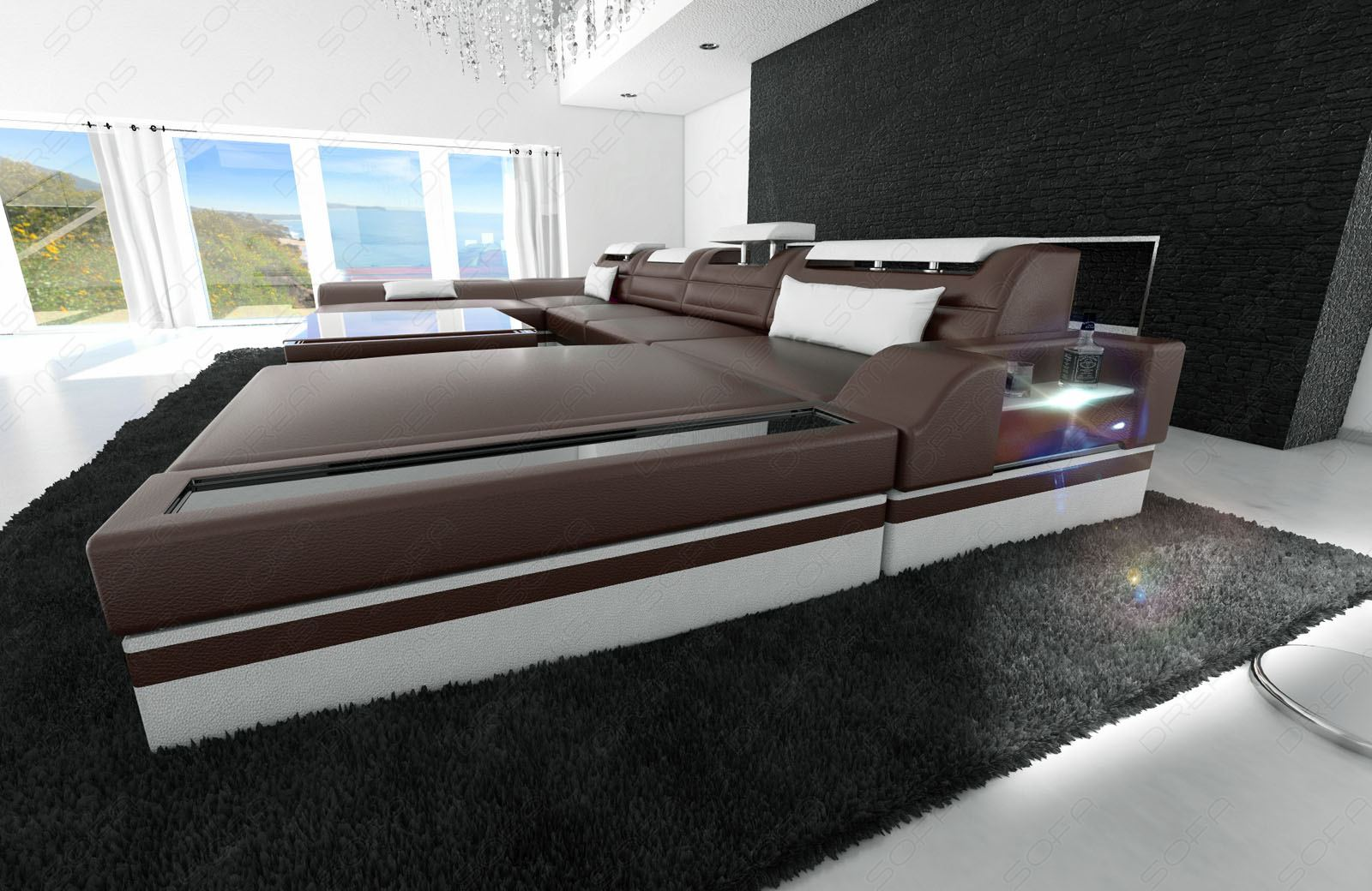big sectional sofa monza u shaped with led lights darkbrown white ebay. Black Bedroom Furniture Sets. Home Design Ideas