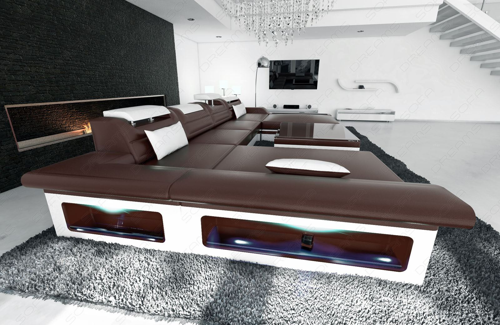 Big sectional sofa monza u shaped with led lights for Sofa u form microfaser