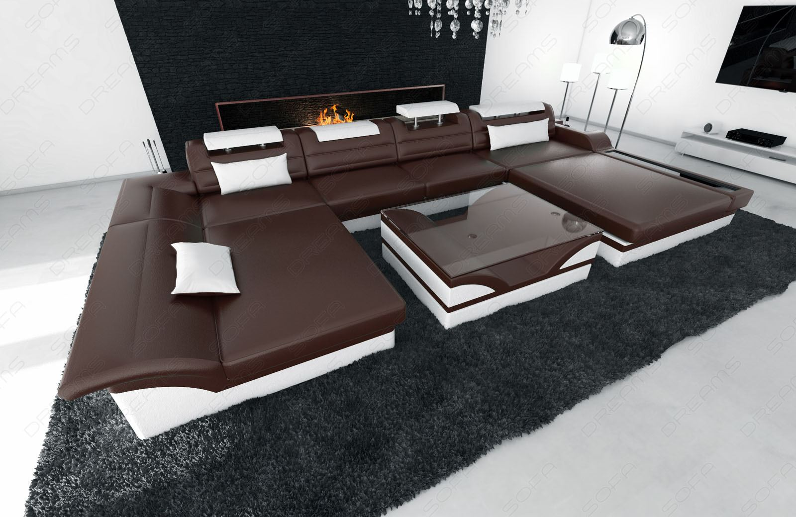 Big sectional sofa monza u shaped with led lights for Sofa u form braun