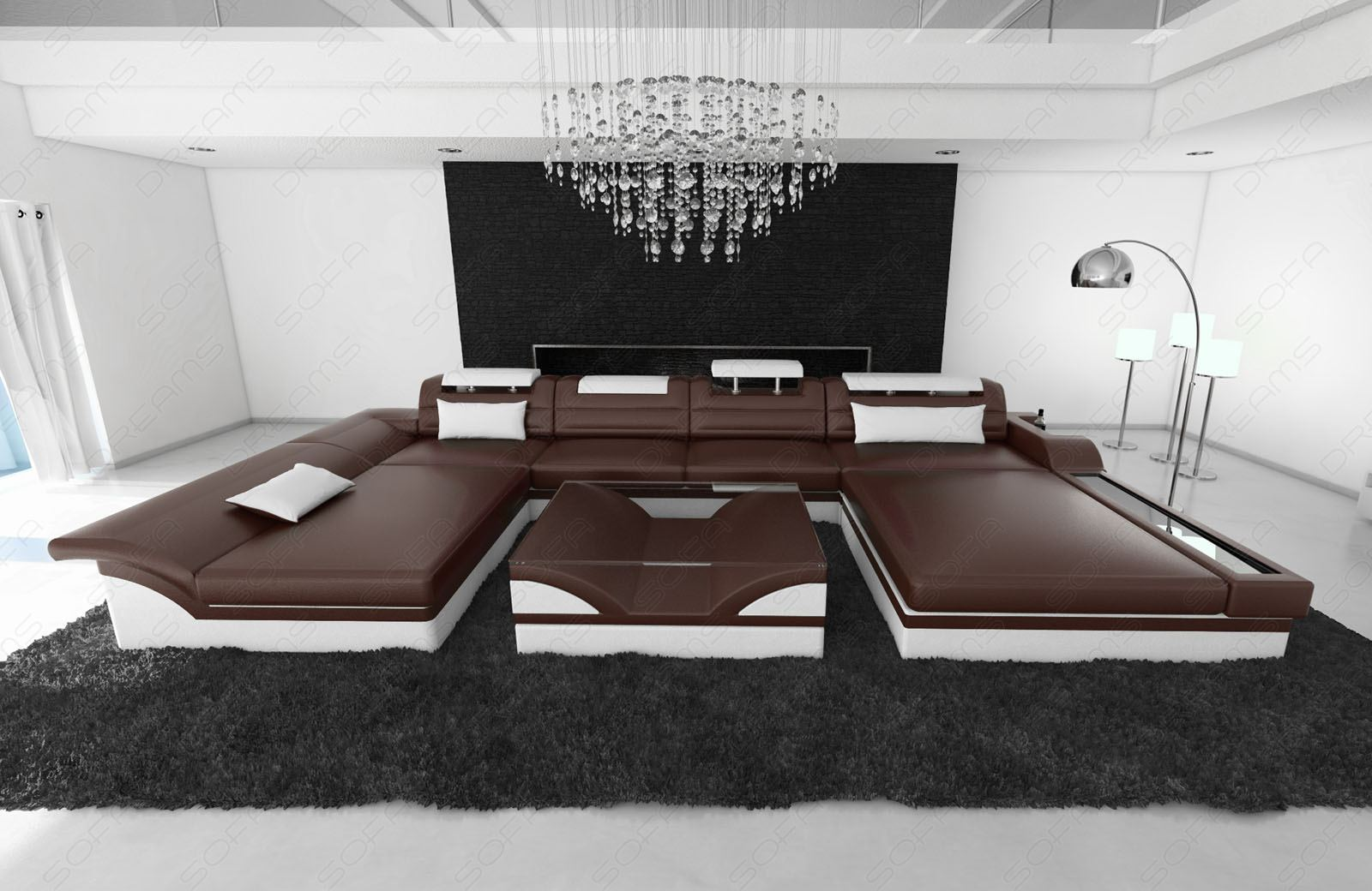 ledercouch wohnlandschaft monza ledersofa mit led dunkelbraun weiss ebay. Black Bedroom Furniture Sets. Home Design Ideas