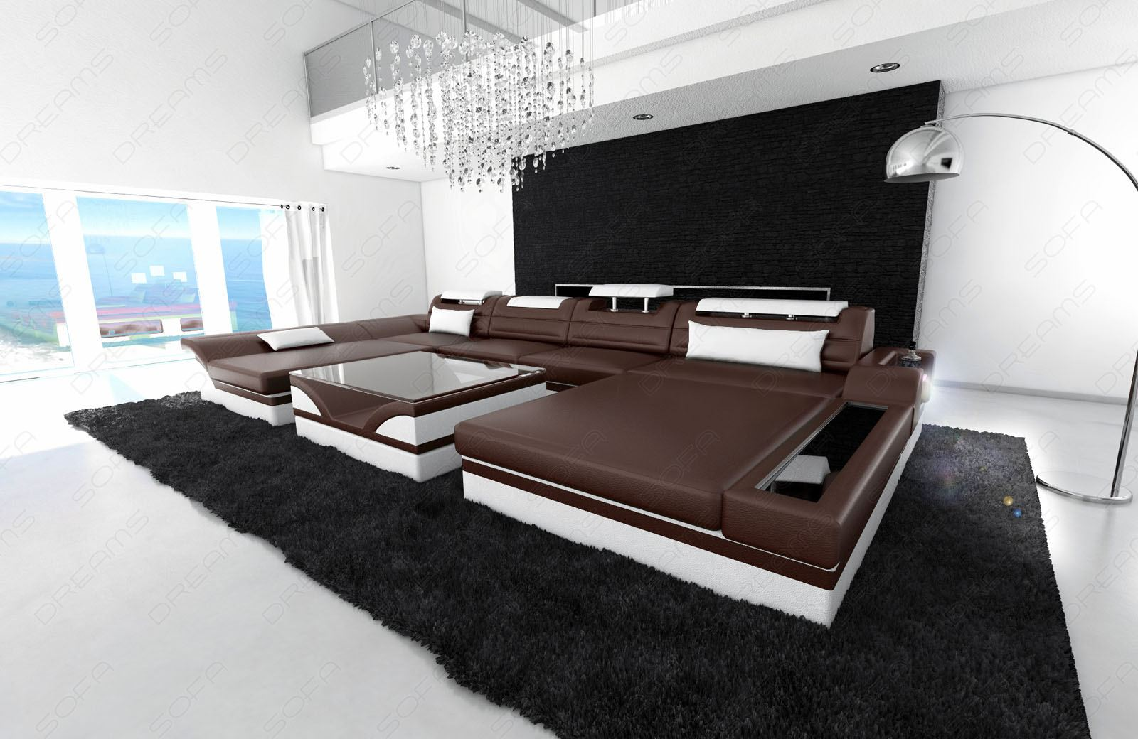 big sofa in u form big sectional sofa prato xxl with led. Black Bedroom Furniture Sets. Home Design Ideas
