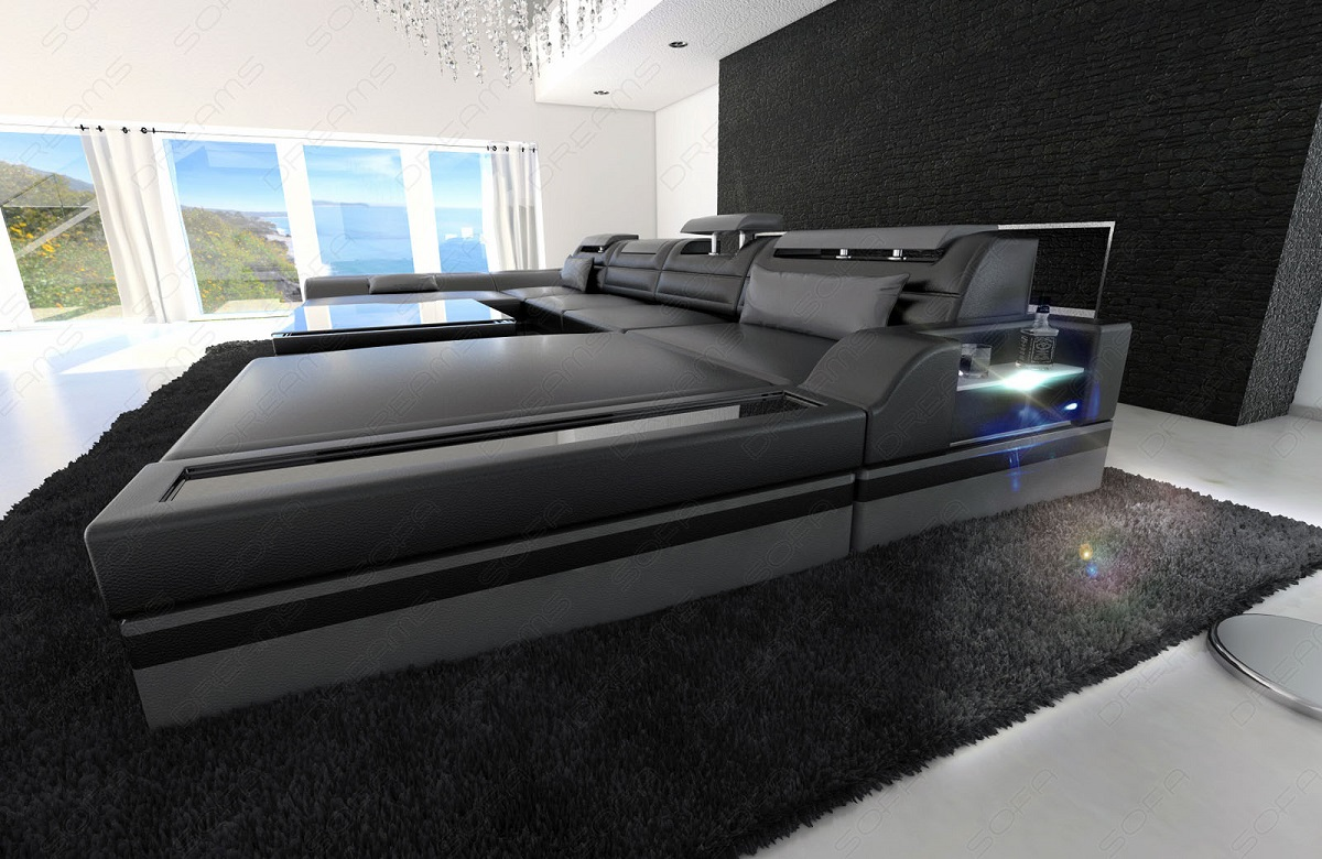 big sectional sofa monza u shaped with led lights black grey ebay. Black Bedroom Furniture Sets. Home Design Ideas