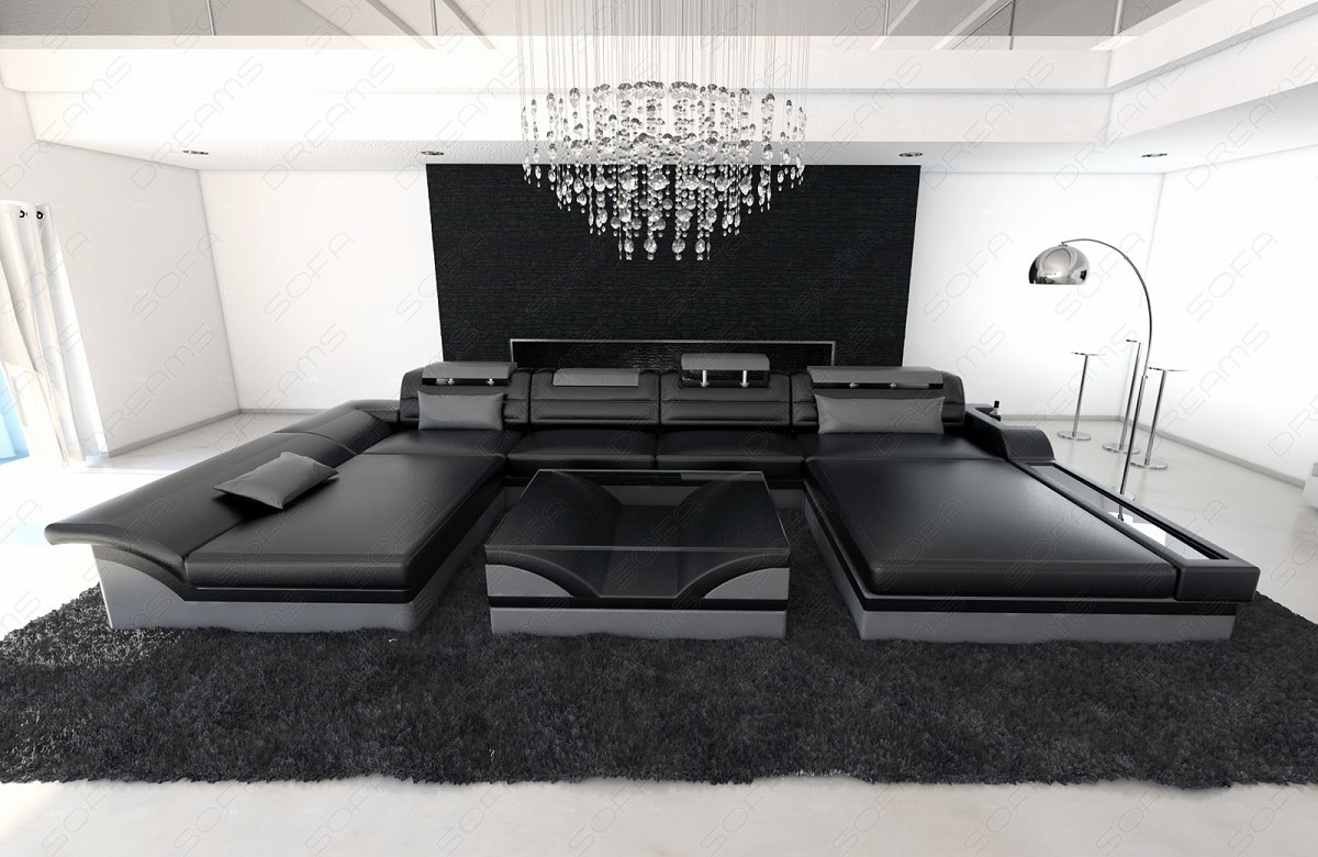 ecksofa leder designer wohnlandschaft monza u form schwarz. Black Bedroom Furniture Sets. Home Design Ideas