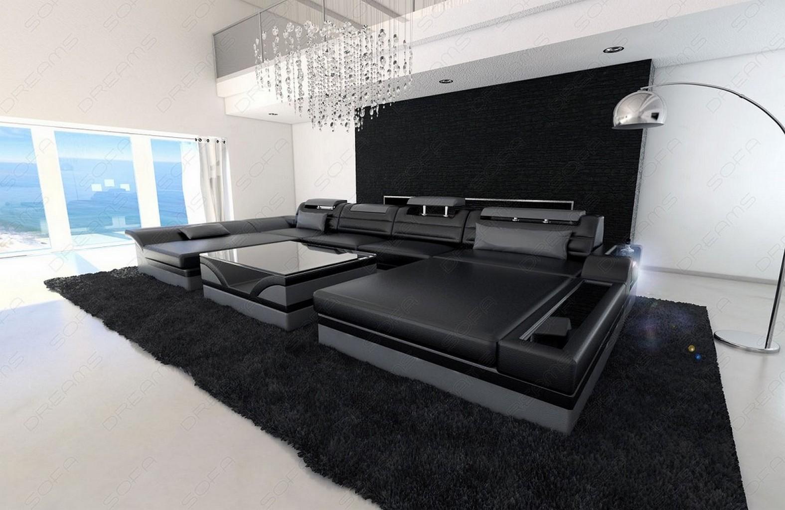 corner sofa leather interior design monza u shaped black. Black Bedroom Furniture Sets. Home Design Ideas
