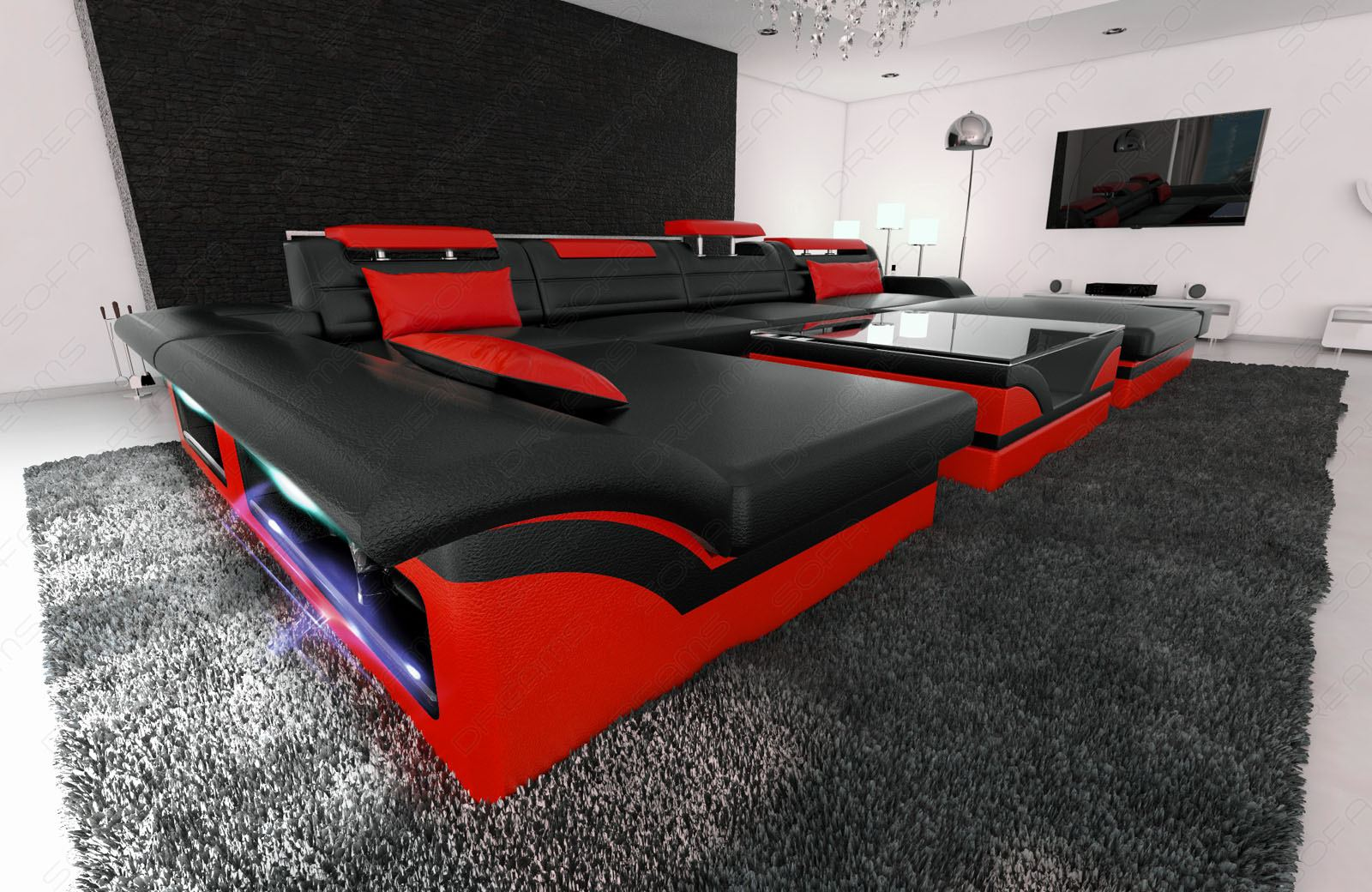 luxussofa wohnlandschaft monza u form designer couch schwarz rot mit led licht ebay. Black Bedroom Furniture Sets. Home Design Ideas