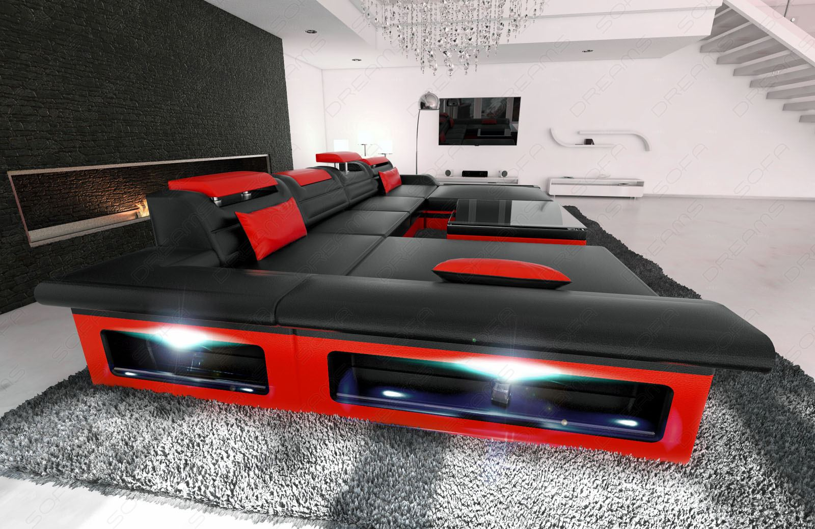 Luxury Sofa Interior Design Monza U Shaped Black Red With Led  # Muebles Sorento